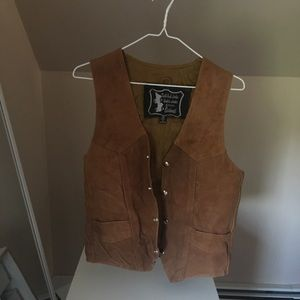 Vintage 70s brown suede leather vest